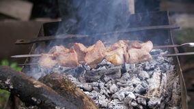 Fleisch gegrillt auf Aufsteckspindeln Kochen des Kebabs Langsame Bewegung stock video footage
