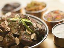 Fleisch-Madras-Gaststätte-Art und Chutneys Lizenzfreies Stockfoto