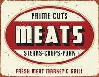 Fleisch-Markt-Zeichen-Weinlese-Schmutz-Retro- Zinn lizenzfreie abbildung