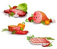 Fleisch mit dem Gemüse eingestellt Stockfotografie