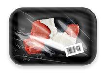 Fleisch mit dem Mantel gepackt im Kasten lizenzfreie stockbilder