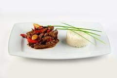 Fleisch mit Gemüse und Reis Stockbild