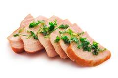 Fleisch mit Grüns Stockfotos