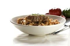 Fleisch mit orzo Teigwaren Lizenzfreies Stockbild