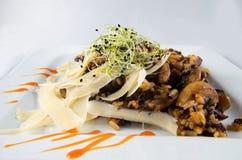 Fleisch mit Reis und Pilzen Lizenzfreie Stockfotografie