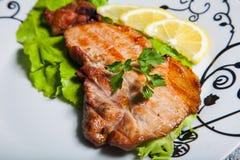 Fleisch mit Salat und Zitrone lizenzfreie stockfotos