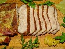 Fleisch, Schweinefleisch gebacken Lizenzfreies Stockbild