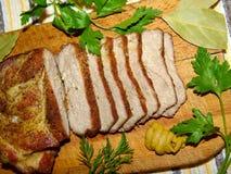 Fleisch, Schweinefleisch gebacken Lizenzfreies Stockfoto