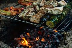 Fleisch- und Gemüsekebabs, die auf Feuer mit Flammen grillen lizenzfreie stockbilder