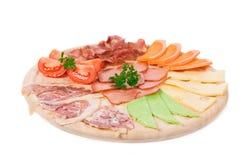 Fleisch- und Käseplatte Stockfotos