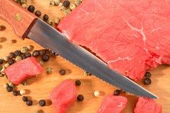 Fleisch und Messer stockfoto