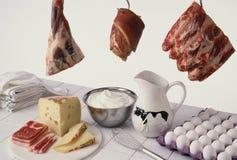 Fleisch und Molkerei Lizenzfreies Stockfoto