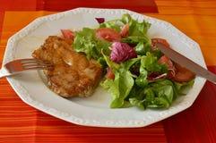 Fleisch und Salat Lizenzfreies Stockfoto