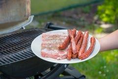 Fleisch und Würste für Grill Stockbild