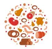Fleisch- und Wurstikone stellte in die runde Form ein, flach, Karikaturart Stockfoto