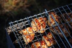 Fleisch wird auf der Natur gegrillt lizenzfreie stockfotos