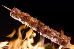 Fleischaufsteckspindel auf einem Feuerhintergrund Stockbild