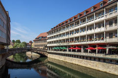 Fleischbruecke across the river Pegnitz in Nuremberg, Germany Stock Images