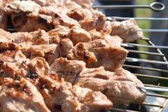 Fleischkebabs shashlyk auf einem bbq lizenzfreies stockbild