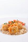 Fleischklöschen mit Zwiebel, Tomaten und Reis Lizenzfreie Stockfotografie