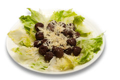 Fleischklöschen u. Kopfsalat Lizenzfreie Stockfotos