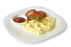 Fleischklöschen und Kartoffelpürees Lizenzfreie Stockfotografie