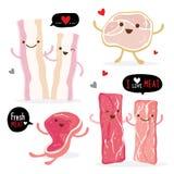 Fleischlebensmittel essen Rindfleischschweinefleischspeckhühnerneuen rohen Stückscheiben-Karikaturvektor Stockfotografie