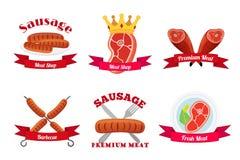 Fleischlogos, Aufkleber Frischfleisch, Würste, Schweinefleisch in der flachen Art lizenzfreie abbildung