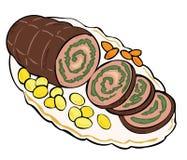 Fleischroulade mit Karotten und Kartoffeln. Stockbilder
