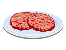 Fleischsteak in Teller lokalisierter Illustration Lizenzfreies Stockbild