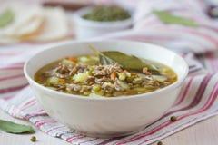 Fleischsuppe mit Rindfleisch, grüne Bohnen Mungs, Hülsenfrüchte, heißer Inder stockfoto