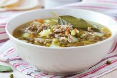 Fleischsuppe mit Rindfleisch, grüne Bohnen Mungs, Hülsenfrüchte, heißer Inder stockbilder