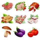 Fleischwaren und Gemüse Lebensmittel in der Karikaturart Großer Vektorsatz von neun Ikonen für kulinarische Projektplanungen vektor abbildung