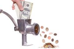 Fleischzerhacker mit Dollar Lizenzfreies Stockfoto