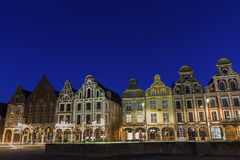 Flemish-Baroque-style townhouses in Arras in France Stock Photos