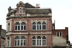 Flemish Gable. Side view of a brick building witha balcony and a Flemish gable royalty free stock images