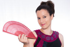 Flemish. Flemish girl with a fan Stock Photos
