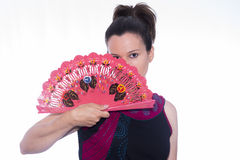 Flemish. Flemish girl with a fan Royalty Free Stock Photo