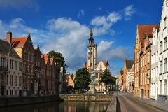 Flemish houses and canal Stock Images