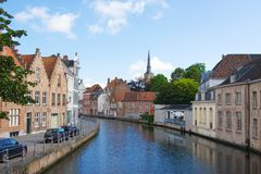 Flemish houses and canal in Brugge Stock Photo