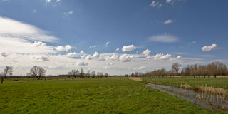Flemish landscape - wide angle view Stock Photos