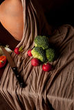 Flemish still life on brown background Royalty Free Stock Images