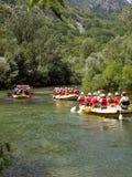 Flößen auf Fluss Cetina 1 Stockfotos