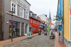 Flensburg, Allemagne, rue piétonnière Image stock