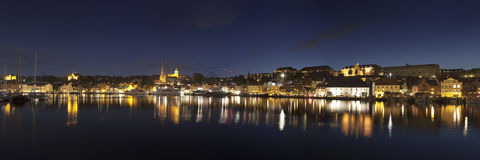 Flensburg Night Panorama Royalty Free Stock Photography