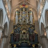The Flentrop organ in the Grote Kerk in Breda, Holland stock photography