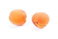Flera av skördade aprikors som är hela och halveras på den vita backgrouen Royaltyfria Bilder