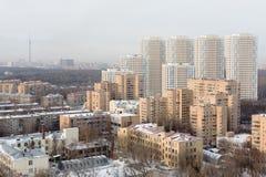 Flera bostads- byggnader för höghus på älgön Royaltyfria Foton