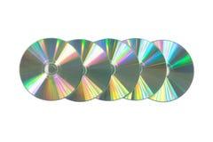 Flera CD/DVD på isolerad vit bakgrund Royaltyfri Bild