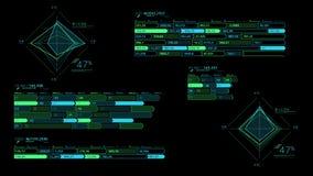 Flera dekorativa infographic intriger på den svarta bakgrunden